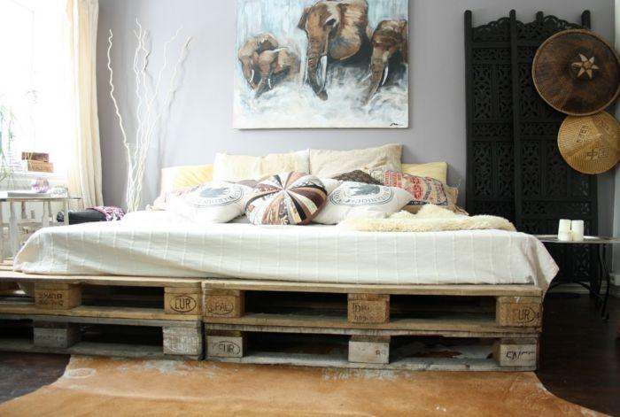 Noch 64 Schlafzimmer Ideen für Möbel aus Paletten Bett