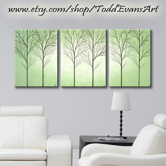 Sage Green 36 Inches 3 Piece Wall Art Set Large Canvas Trees