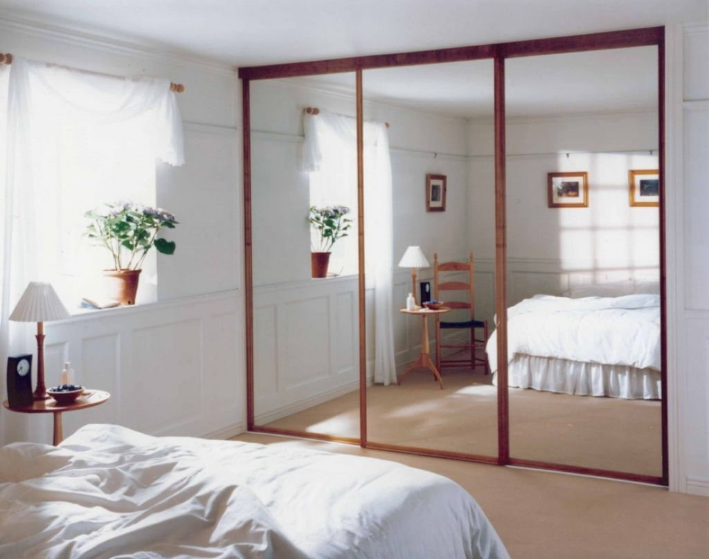 Modern Design For Sliding Mirrored Closet Door With Thin Wooden