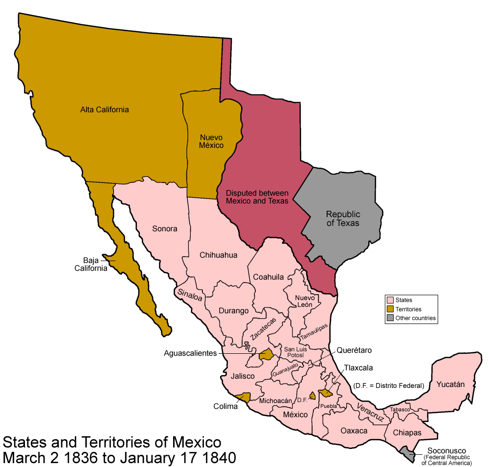 Texas And Mexico Mexico To To Png Maps - Map of the us in 1840
