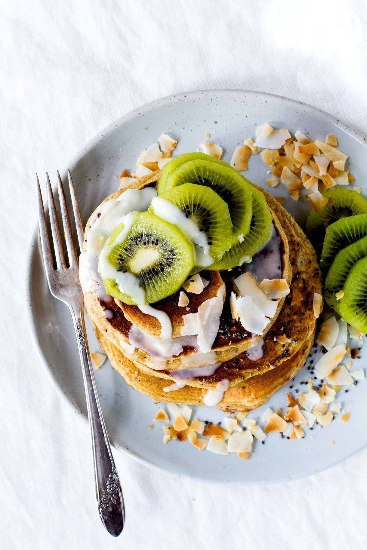 Fluffy Gluten-Free Pancakes with Coconut Butter & Kiwis (made in the blender) | Heartbeet Kitchen