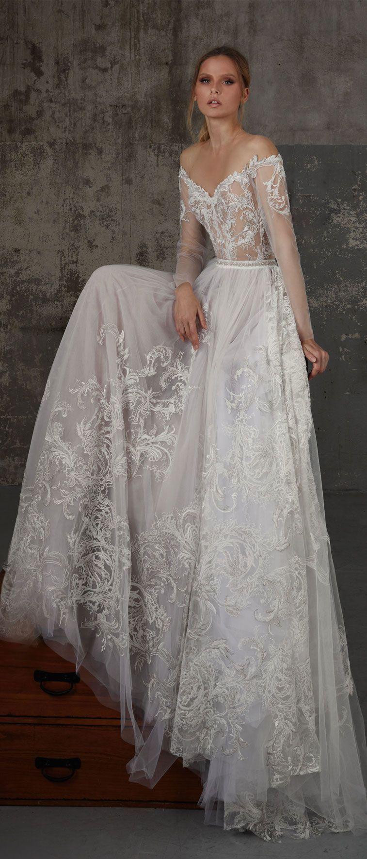 Off the shoulder long sleeves wedding dress boho wedding dress