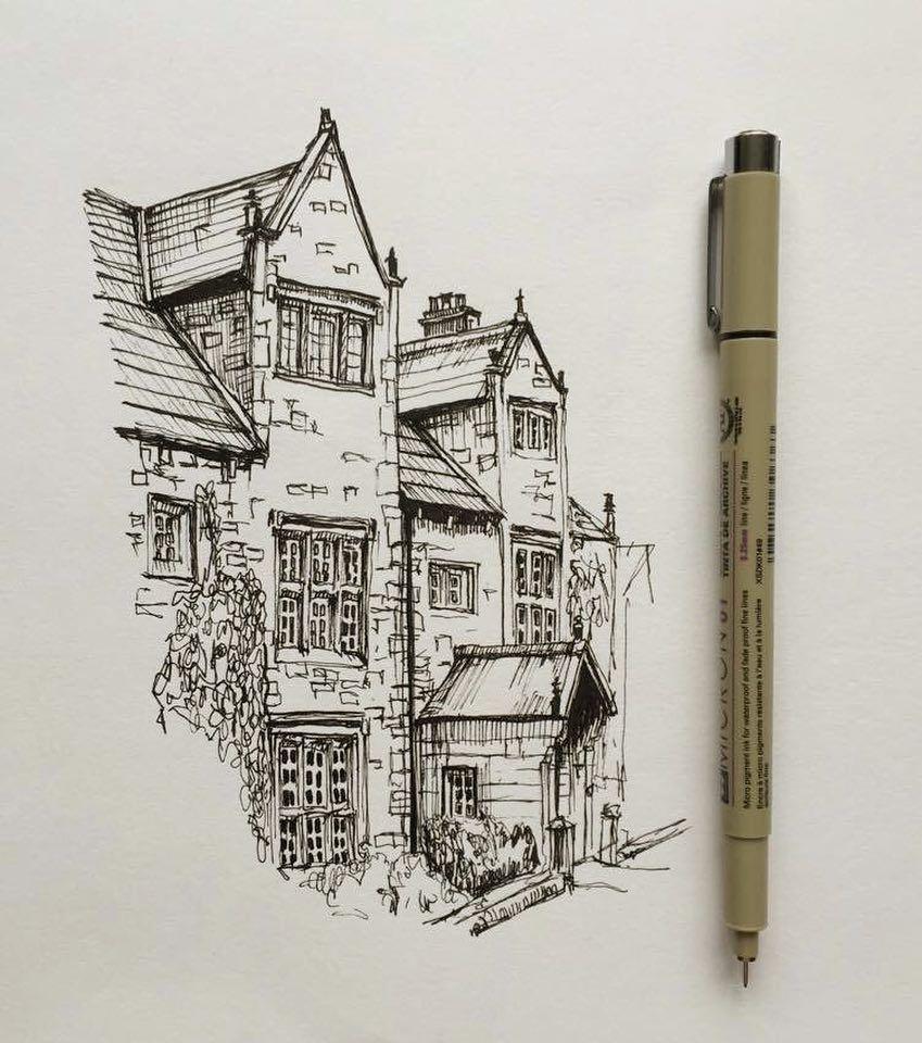 Art drawing pen sketch illustration architecture house also rh nl pinterest