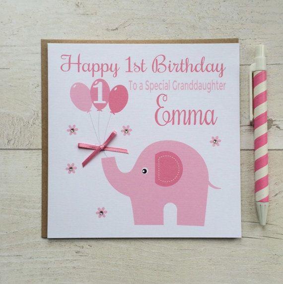 Personalised 1st Birthday Card First Birthday Card Girls Etsy 1st Birthday Cards First Birthday Cards Card Making Birthday