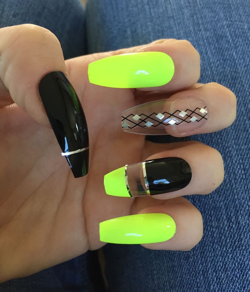Neon Yellow Black Long Ballerina Coffin Nails/ Press On Nails/ Fake ...