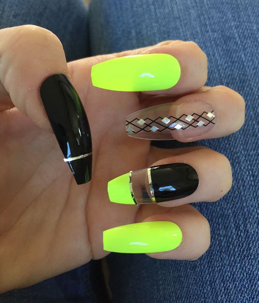 Neon Yellow Black Long Ballerina Coffin Nails Press On Nails Fake Nails Claws Coffin Nails Long Neon Nails Coffin Nails