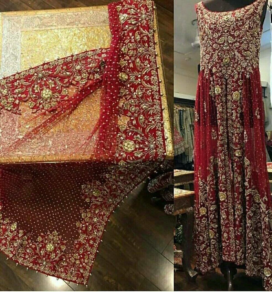 Long Trail Frock For Wedding In Red Color N7054 Red Bridal Dress Beautiful Bridal Dresses Pakistani Bridal Dresses [ 2100 x 1500 Pixel ]