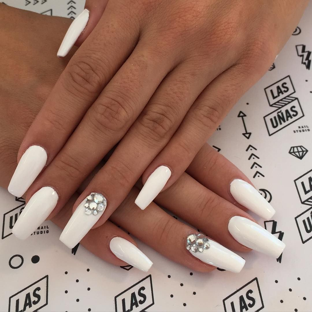 120 Best Coffin Nails Ideas That Suit Everyone White Coffin Nails Nails Design With Rhinestones Diamond Nails