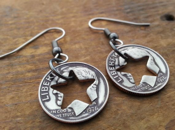 40th-1976 Birthday Dime Star Earrings 40th by LuckyLiberty on Etsy