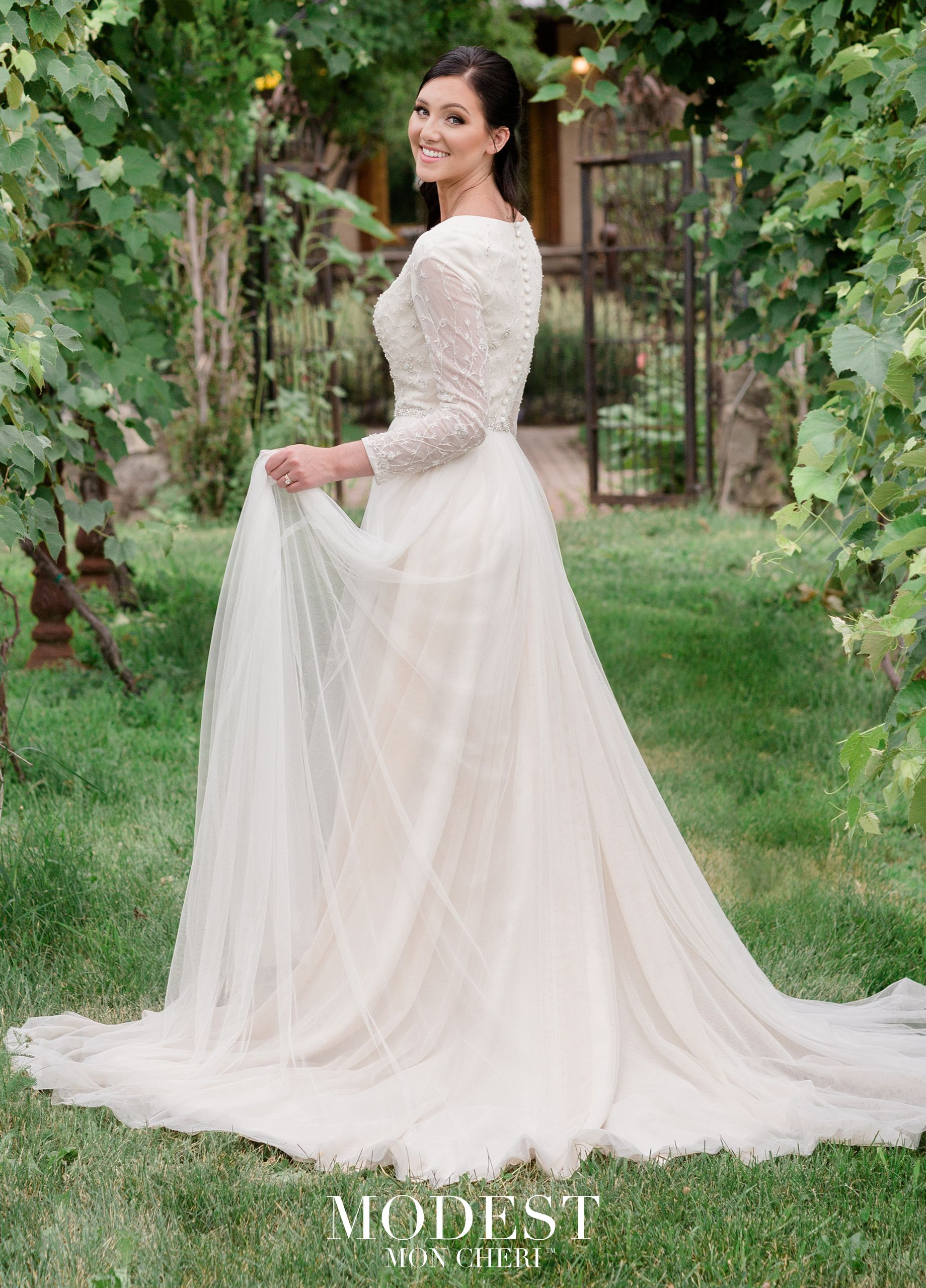 Modest Wedding Dresses TR11973 - English net A-line gown features curved V  neckline ecf2a12de