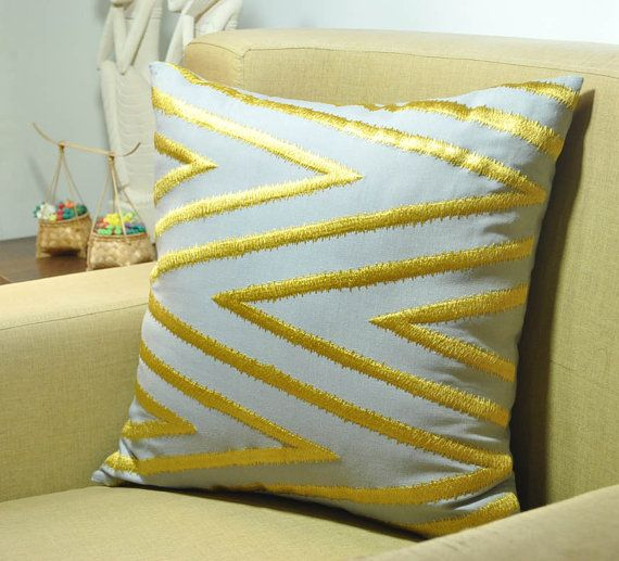 Sofa Sleeper Chevron Decorative Pillow Cover Gray Linen Golden Yellow Chevron Embroidered pillow Modern contemporary decor Home Accent geometric