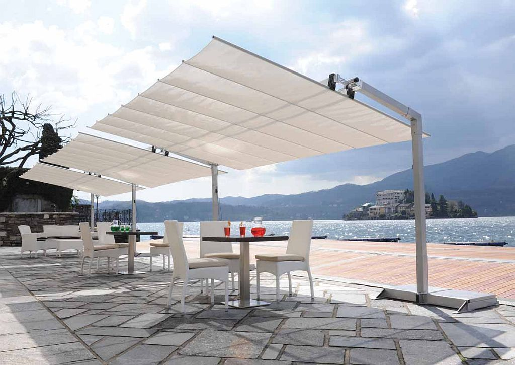 Flexy 8ft Deepseries Commercial Freestanding Retractable Awning Tilting Canopy Flexy8 Large Patio Umbrellas Cantilever Patio Umbrella Patio Umbrellas