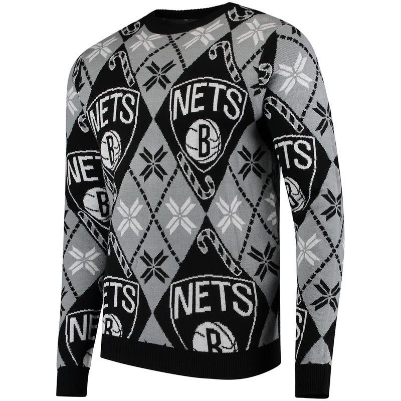 0012aeb2fc6 Men s Black Brooklyn Nets Candy Cane Repeat Sweater