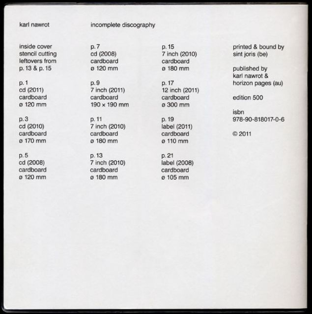 Incomplete Discography by Karl Nawrot, 2011-2013