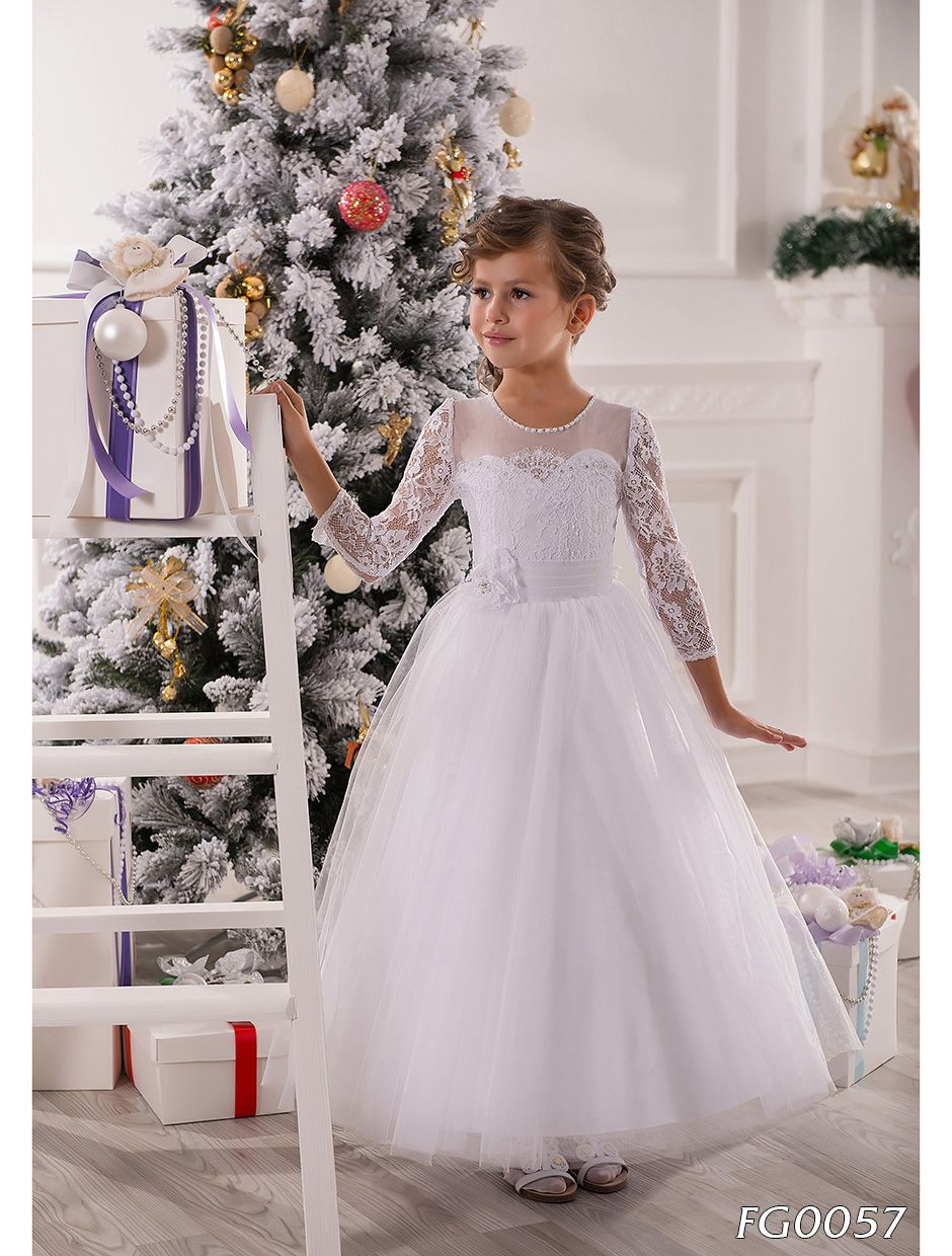 2016 White Ivory Flower Girls Dresses A Line Floor Length