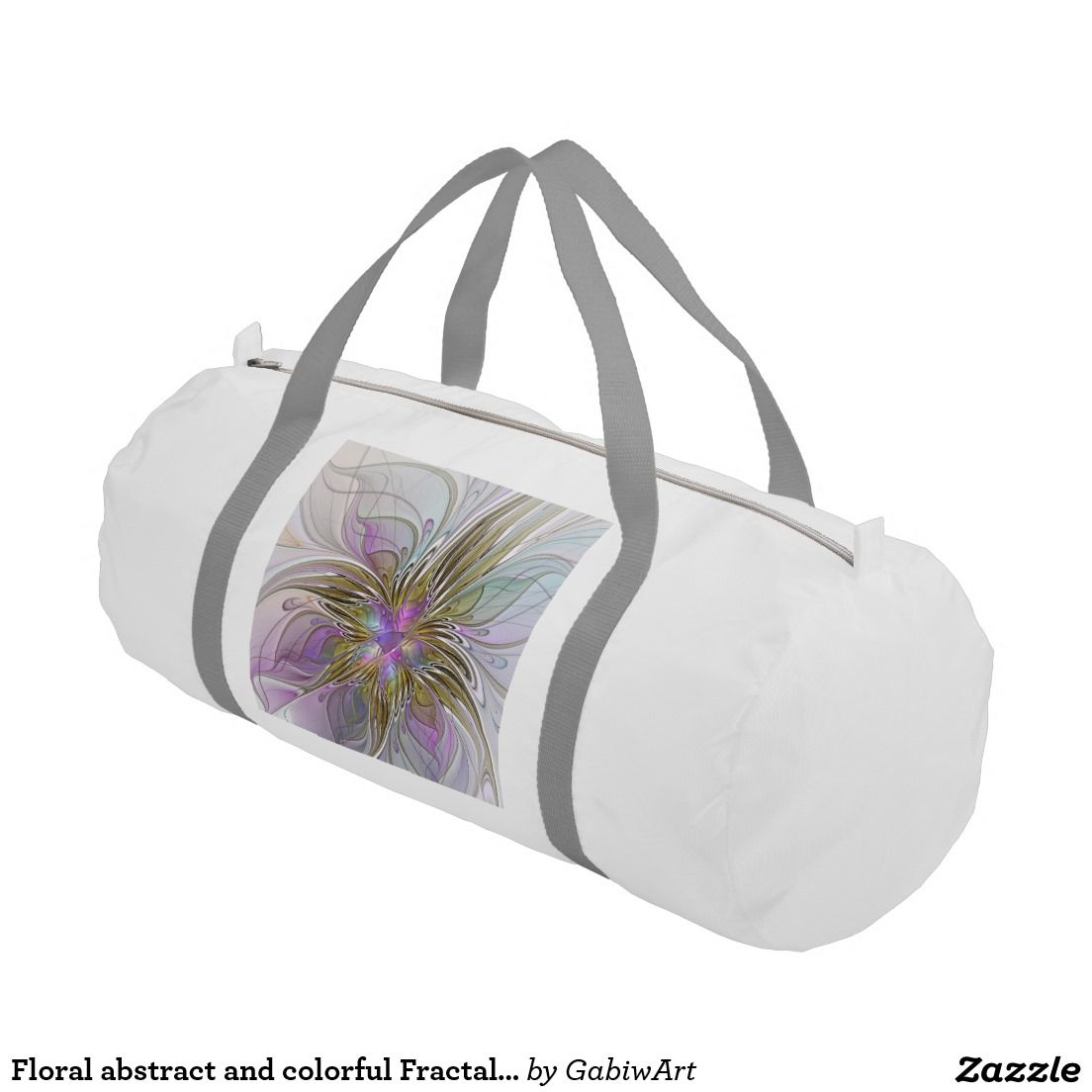Floral abstract and colorful Fractal Art Duffle Bag