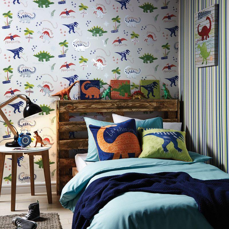 arthouse dino doodles dinosaur wallpaper in multi 667500