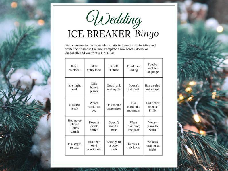 bridal shower ice breaker game forest green wedding human