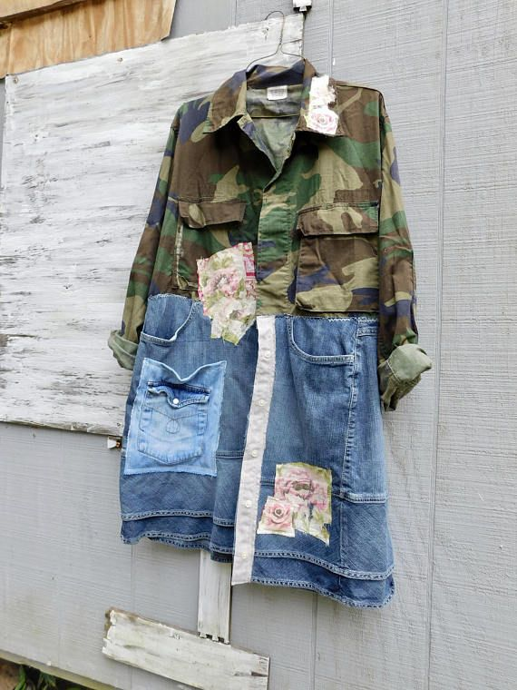 This beautiful Camo Art Jacket is the perfect piece for Fall or Winter - you can easily pair it with a white t-shirt and your favorite pair of jeans or leggings! This one is designed to be worn open or buttoned at the top!  This beautiful statement piece will turn heads for sure! This upcycled jacket is very fun and comfy! Made from cotton and denim and pieced together in a funky kind of way that is very flattering to the body :) no worries about anyone walking around with the same jacket…