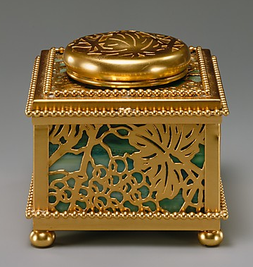 Covered Inkwell in grape patternTiffany Studios, New York City, NY, American, gilt bronze, favrile glass, circa 1905-1920
