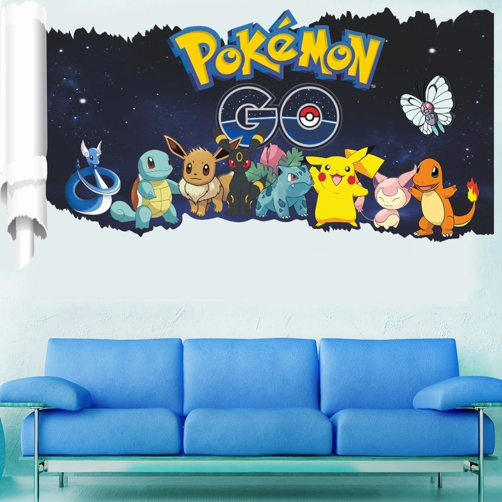 stand pokemon go 3d pikachu party wall decals sticker vinyl mural pokemon go pocket monster pikachu mural wall sticker decal kid room decor ebay