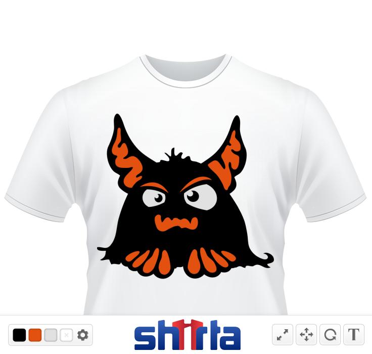 Ein süsses und gruseliges Monster. En schwarz, rot, weisses kleines Monster mit grossen Ohren. Ein tolles Halloween Design.
