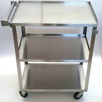 Stainless Steel Vintage Cart Bar Tea Or Serving Coffee Station Potted Plant