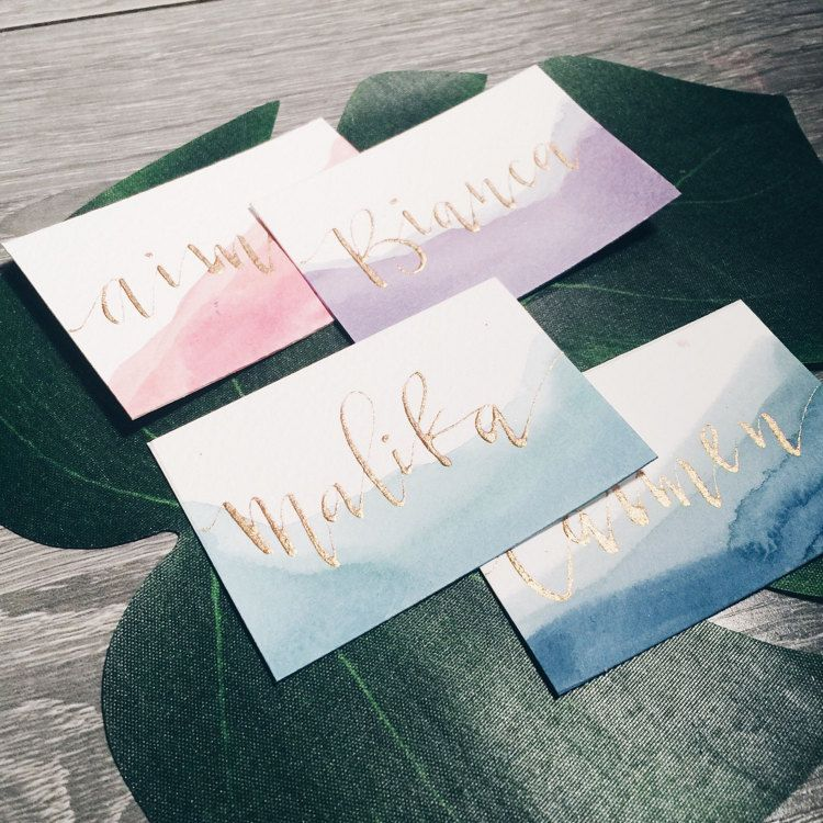 Calligraphy Place Cards Watercolor Card Wedding Place Cards