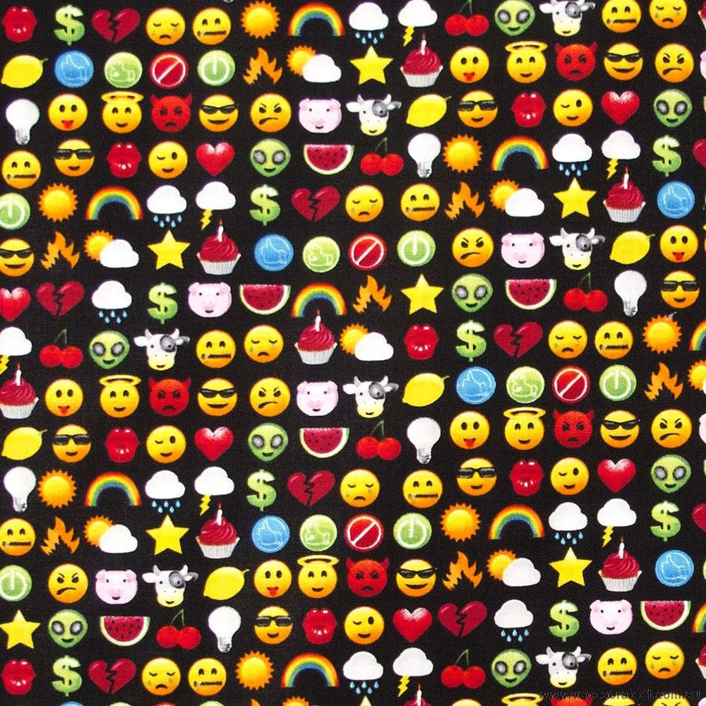 Timeless treasures pocket arcade emoticons black 12cm 44 for Emoji material by the yard