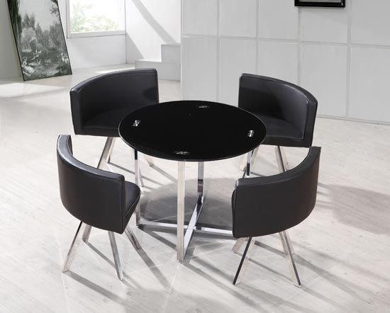 Spectrum Round Black Dining Table With 4 Pu Chairs Space Saver