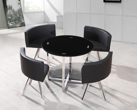 Alia Modern Black Glass Table Set Dining Room Design Modern