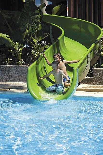 Shangri La S Rasa Ria Resort Kota Kinabalu Garden Wing Swimming Pool Water Slide Luxury Swimming Pools Pool Water Slides