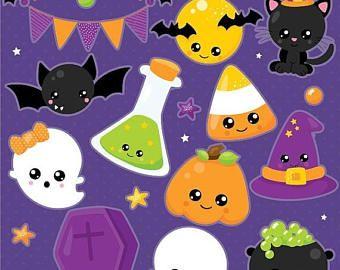 80% OFF SALE Halloween clipart, Jack o lantern clipart, Kawaii ...