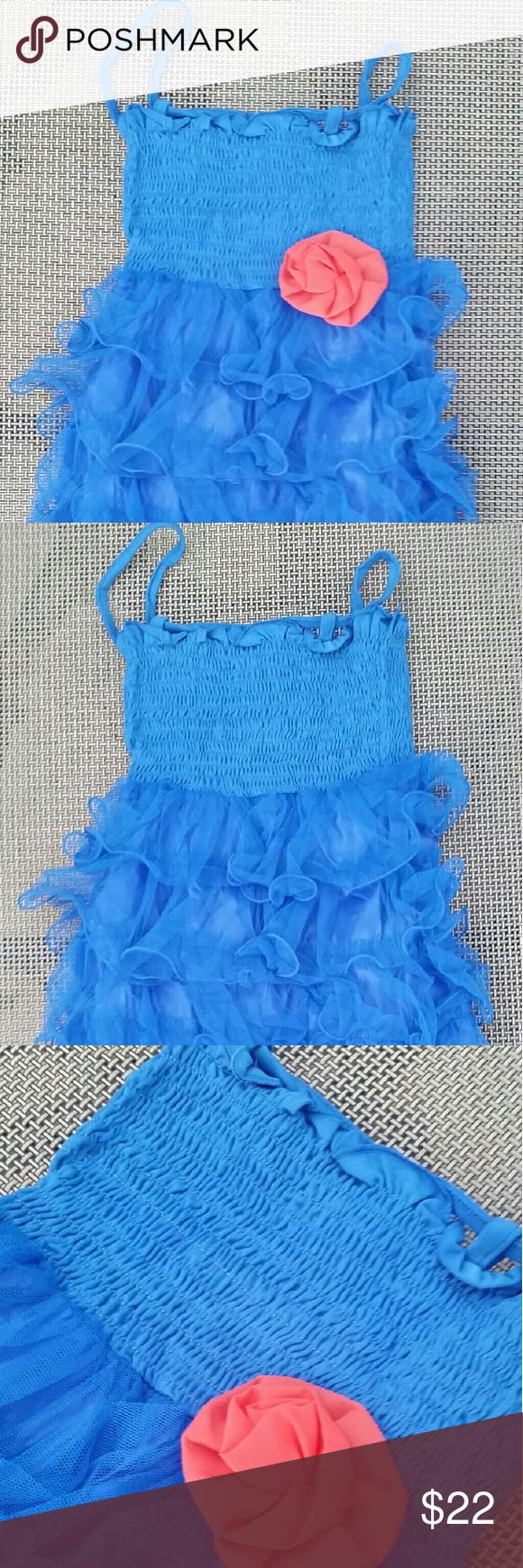 Lowest price blue girlus dress orange peach flower nwt blue tulle