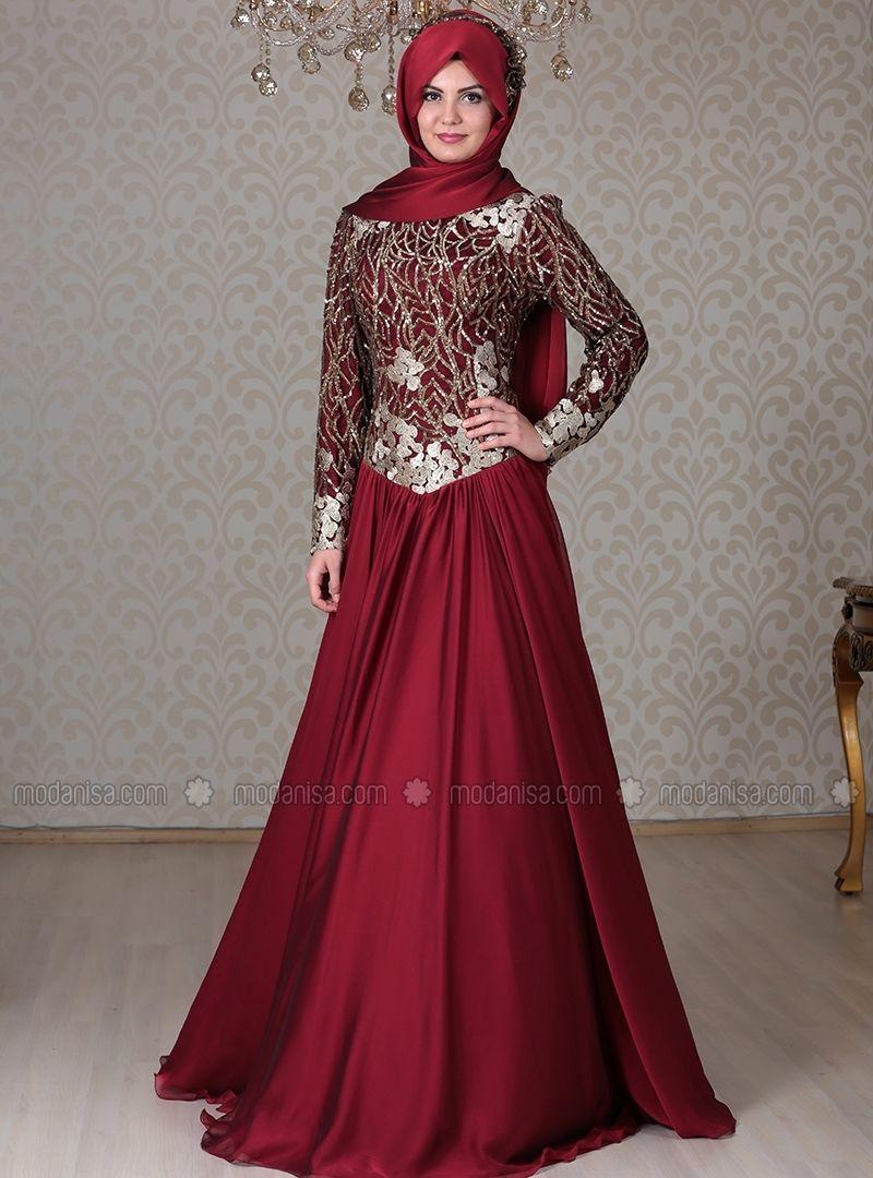 67a24a41bc8 Akasya Evening Dress - Maroon - Gold - ULVIYE PORTAKAL