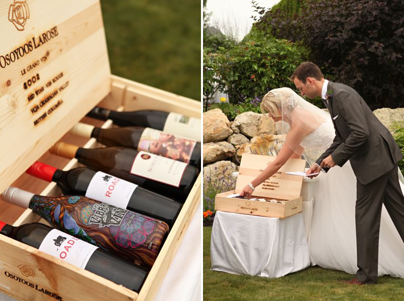 Wine Ceremony. A bottle and a love note from the groom to the bride and the bride to the groom. When things get tough, work it out over a great bottle of wine and read each others love letters. Sigh...    Wedding decor and coordination by Okanagan Executive Events