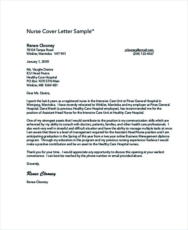 Nursing Cover Letter Sample How Write Perfect Format Application