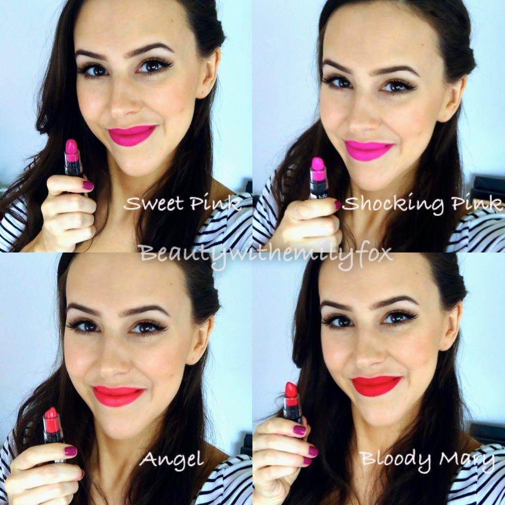 NYX Matte Lipsticks - Lip Swatches Sweet Pink, Shocking Pink ...