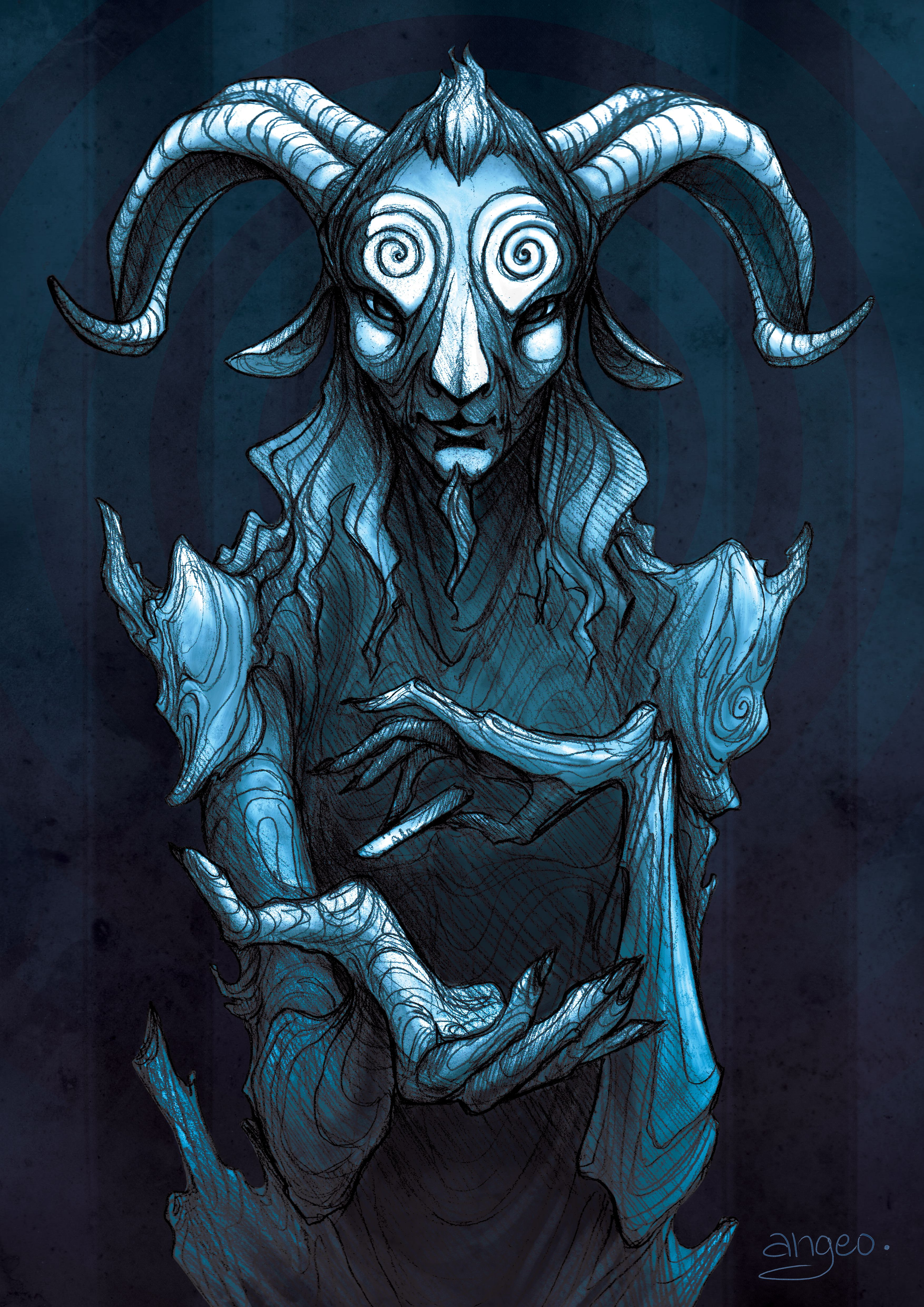 Pans labyrinth angeoart panslabyrinth faun fairytale dark fanart creature fantasy digitalart drawing art pencil sketch