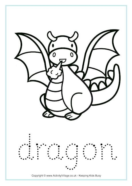 Dragon tracing worksheet for Not Your Typical Dragon | cumple de ...