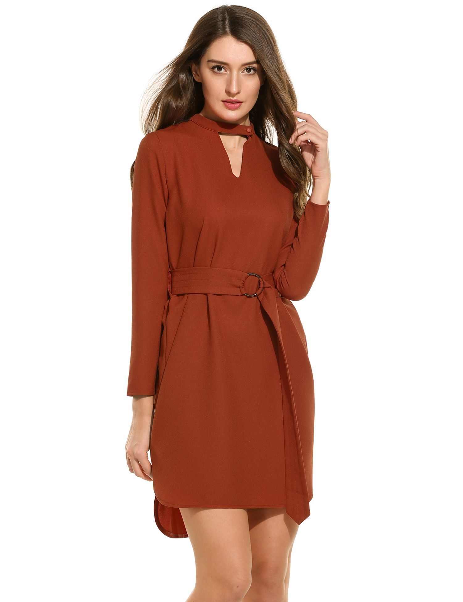 New women casual hollow out vneck long sleeve solid asymmetrical
