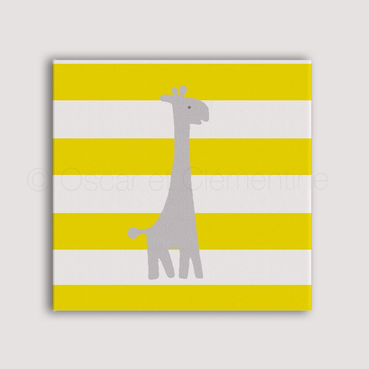 Girafe peinte la main toile pour chambre d 39 enfant ou de b b toiles peintes la main - Toile pour chambre bebe ...