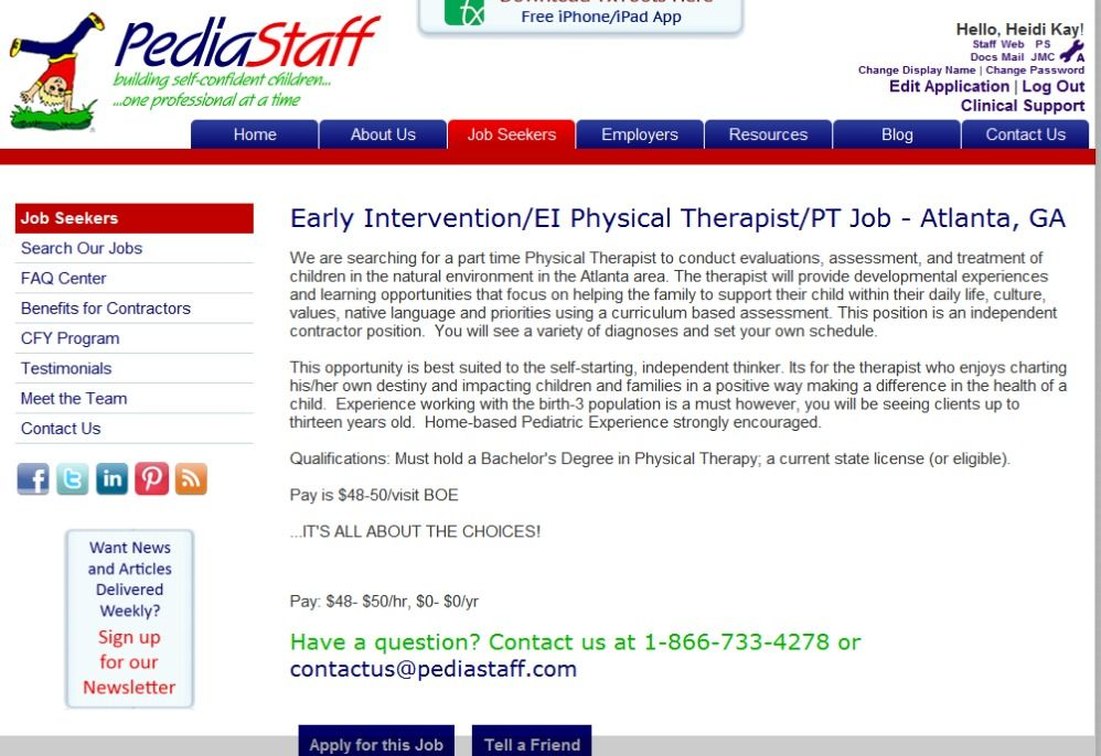Early Intervention PT job - Atlanta, GA - We are searching for a - physical therapist job description
