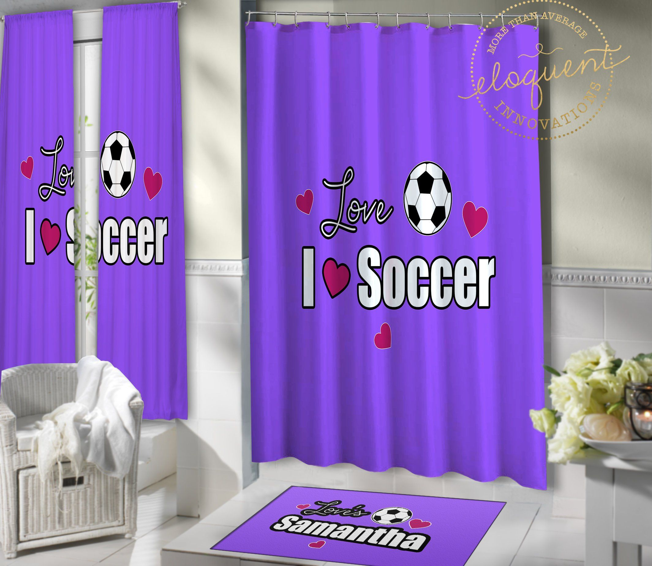 Soccer Shower Curtain Personalized With Name Or Player Number