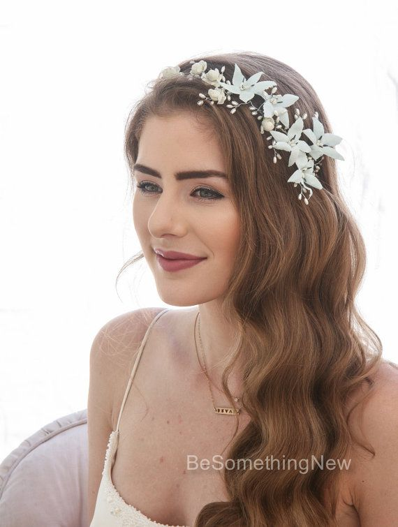 4a2da67870a Vintage Blue Flower Crown Wired Pearl Bridal Headpiece Beaded Flower Hair  Vine with Vintage Blue Flo