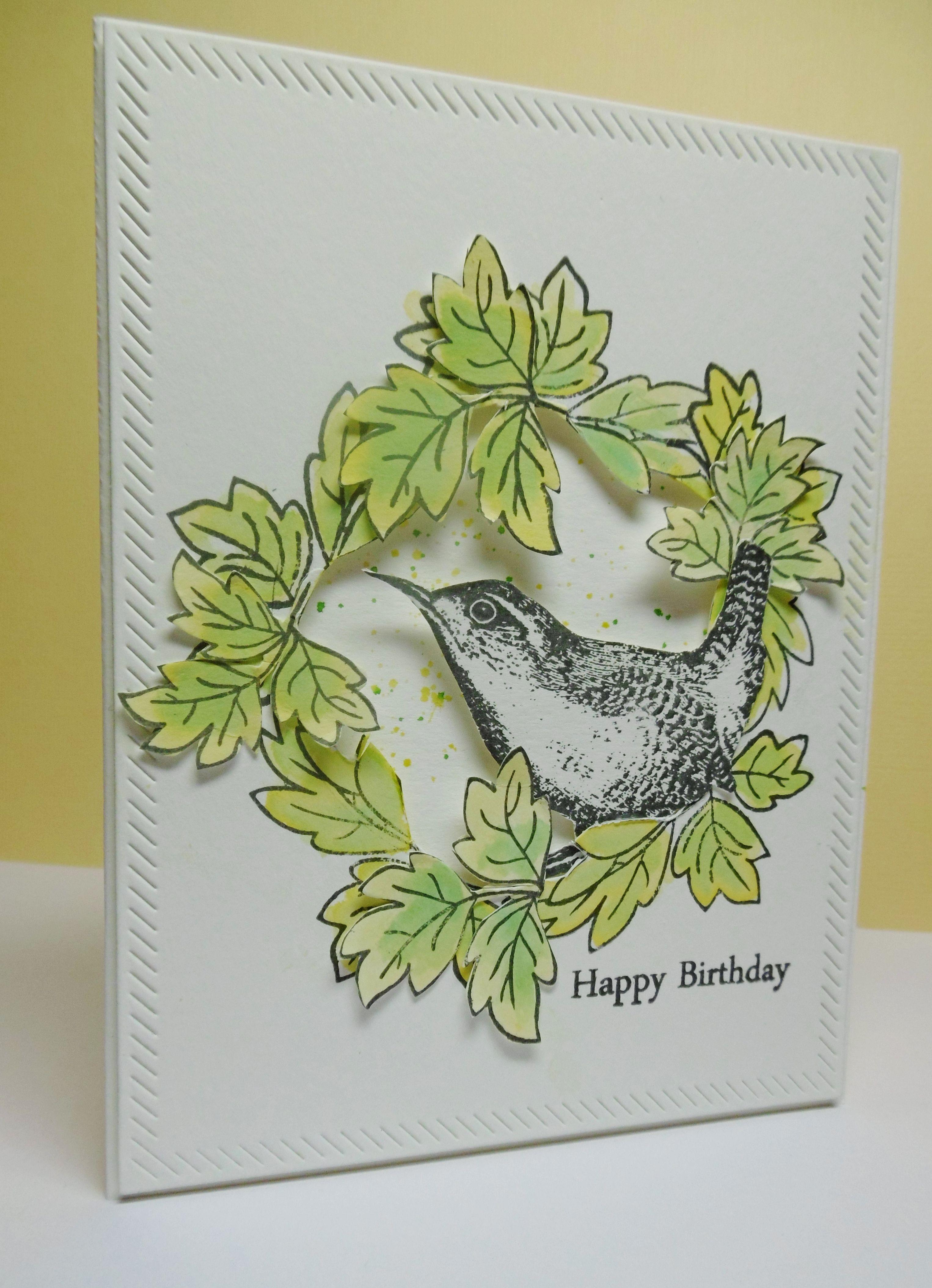 Altenew Peony scrolls, bird stamp from Inkylicious, MFT diagonal stitch die