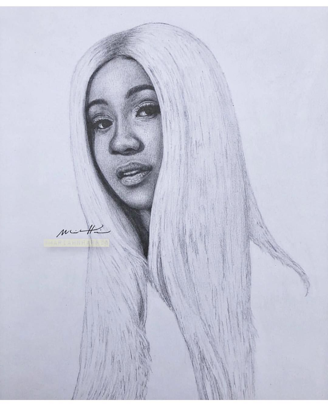 Cardi B Drawing : cardi, drawing, Cardi, Celebrity, Drawings,