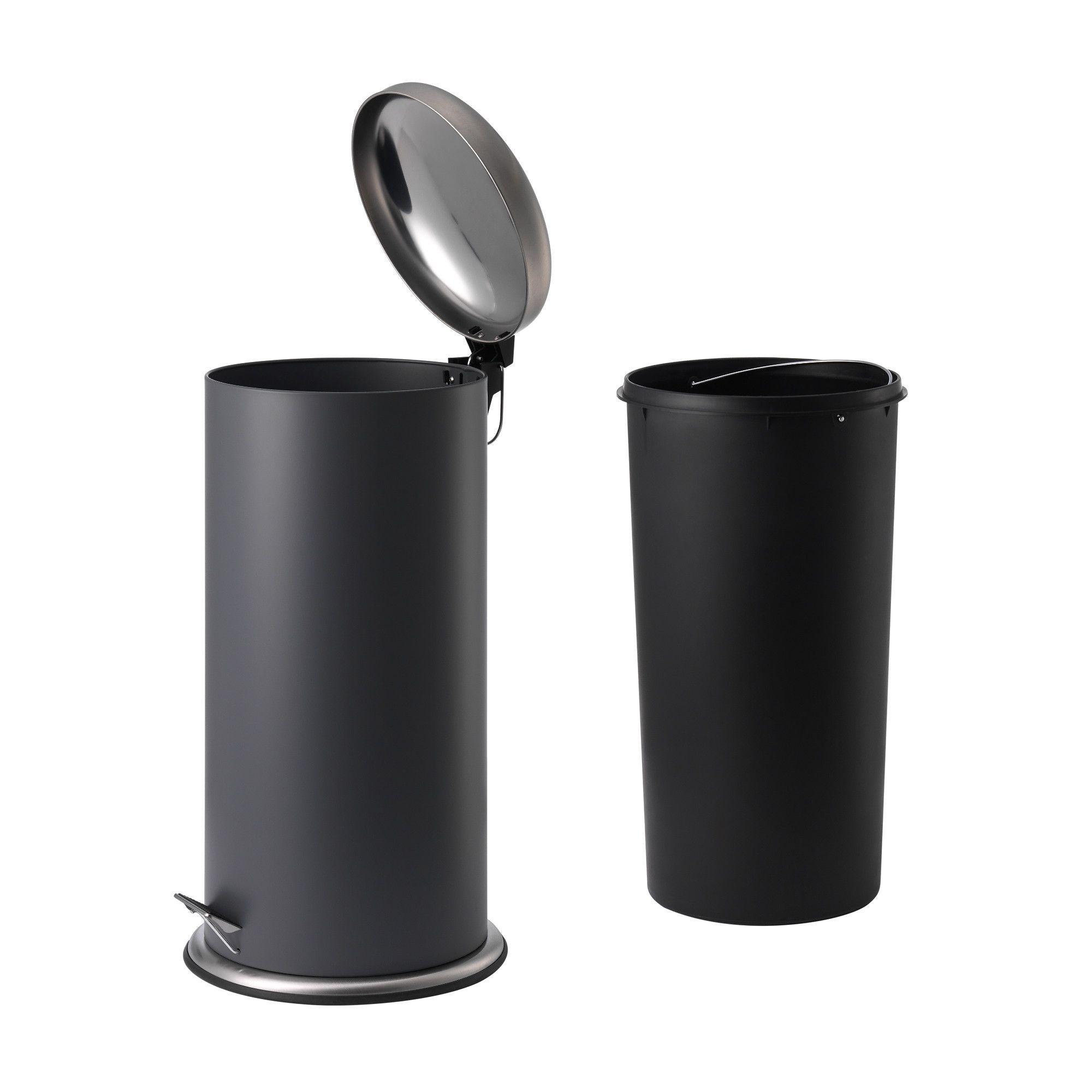 PVC COATED 3 Litre PEDEL BIN &TOILET BRUSH HOLDER BLACK BATHROOM WASTE STAIN Waste Bins & Dustbins