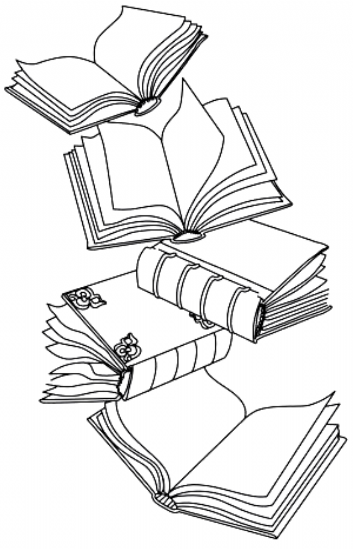 Open Book Drawing Easy : drawing, Simple, Enchanting!, Beautiful, Books, Tumble, Light,, Cascading, Literary, Design., Downloads, Tattoo,, Drawing,, Paper, Embroidery
