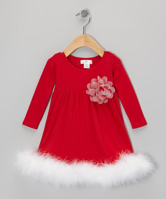 Christmas In July Ladies Outfits.Christmas Marabou Dress For Baby Girl Red By